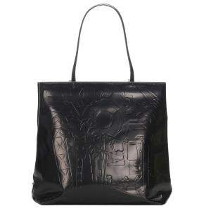 Prada Black Embossed Leather Tote Bag