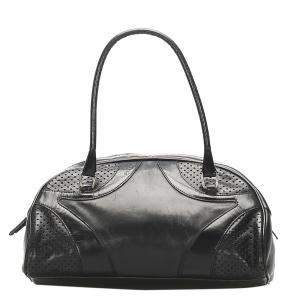 Prada Black Leather Vitello Daino Bowler Bag