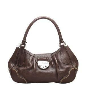 Prada Brown Vitello Daino Leather Sound Lock Bag