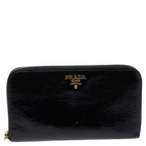 Prada Black Patent Leather Zip Around Wallet