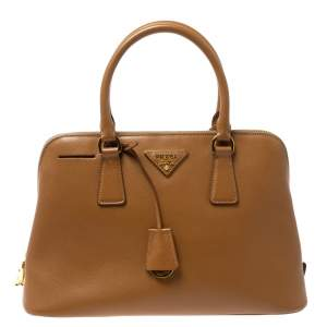 Prada Tan Saffiano Lux Leather Dome Satchel