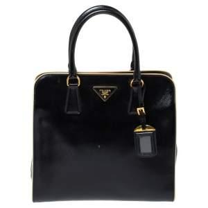 Prada Black Patent Leather Open Satchel