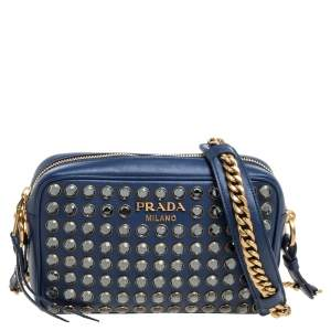 Prada Blue Crystal Embellished Leather Camera Shoulder Bag