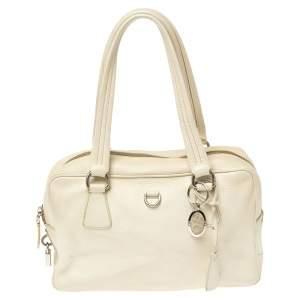 Prada White Vitello Daino Leather Balletto Bag
