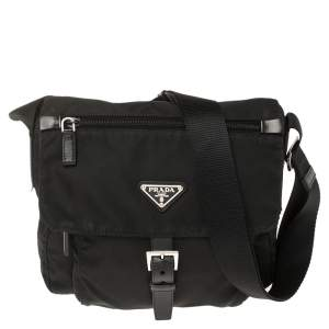 Prada Black Nylon Pocket Flap Messenger Bag