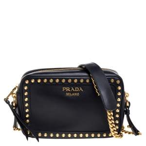 Prada Black Leather Studded Camera Crossbody Bag