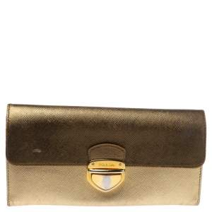 Prada Metallic Gold Saffiano Leather Continental Wallet