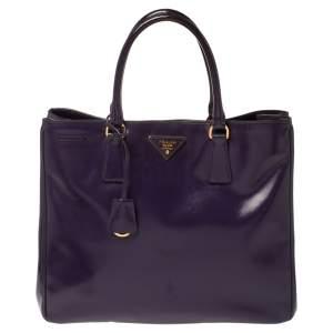 Prada Purple Saffiano Vernic Patent Leather Tote