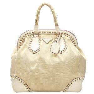Prada White Canvas Leather Grommet Frame Top Handle Bag