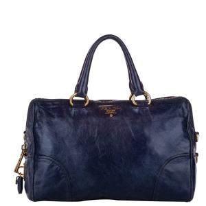 Prada Blue Leather Vitello Shine Bag