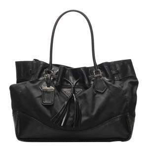Prada Black Nylon Tessuto Drawstring Shoulder Bag