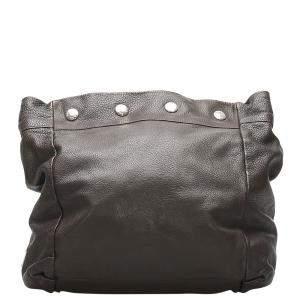 Prada Black Leather Vitello Daino Clutch