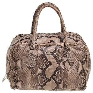Prada Beige Python Duffel Bag