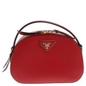 Prada Red Saffiano Lux Leather Odette Top Handle Bag