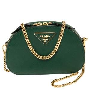 Prada Green Saffiano Lux Leather Odette Belt Bag