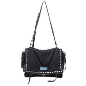 Prada Black Nylon and Leather Etiquette Studded Flap Shoulder Bag