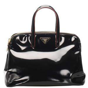 Prada Black Patent Leather Spazzolato Double Zip Bag