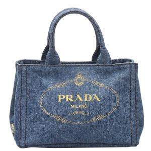 Prada Blue Denim Canvas Canapa Bag
