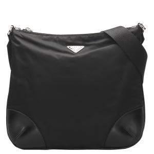 Prada Black Nylon/Leather Tessuto Crossbody Bag