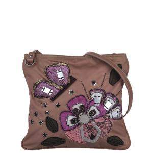Prada Brown Nylon Embellished Tessuto Crossbody Bag