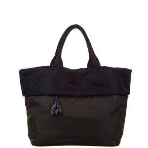 Prada Black Nylon Reversible Tessuto Double Tote Bag