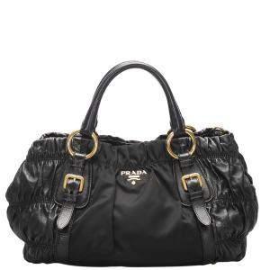 Prada Black Leather/Nylon Tessuto Nappa Gaufre Bag