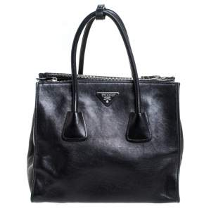 Prada Black Soft Leather Medium Twin Pocket Tote