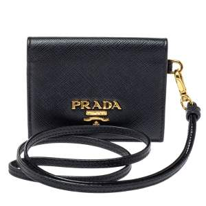 Prada Black Saffiano Leather Card Holder with Strap