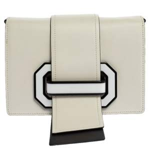 Prada White/Black Leather Plex Ribbon Shoulder Bag