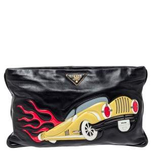 Prada Black Leather Car-Applique Clutch