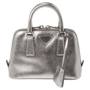 Prada Metallic Silver Saffiano Lux Leather Mini Promenade Crossbody Bag