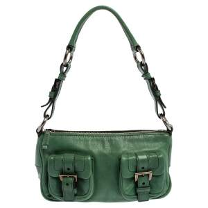 Prada Green Leather Double Pocket Shoulder Bag