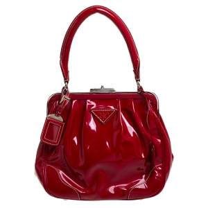Prada Red Patent Leather Cinghiale Frame Top Handle Bag