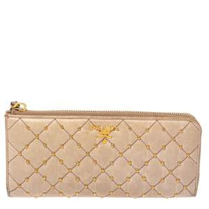 Prada Beige Leather Studded Zip Around Wallet
