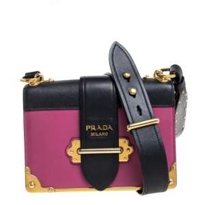Prada Fuchsia/Black Leather Cahier Flap Shoulder Bag