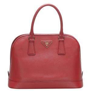 Prada Red Saffiano leather Vernice Satchel Bag