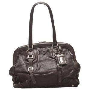 Prada Brown Leather Frame Shoulder Bag