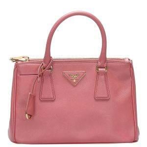 Prada Pink Leather Saffiano Galleria Crossbody Bag