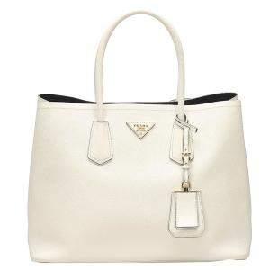 Prada White Leather Saffiano Cuir Double Bag