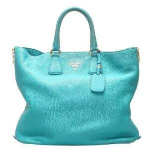 Prada Blue Leather Vitello Daino Satchel Bag