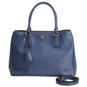 Prada Blue Saffiano Leather Galleria Satchel