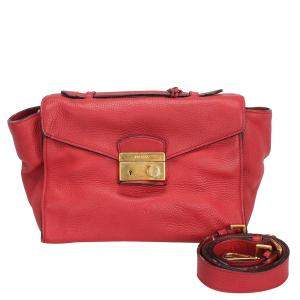 Prada Red Leather Sound Lock Satchel