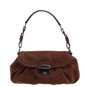 Prada Brown Nubuck Baguette Bag