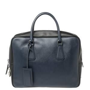 Prada Navy Blue/Black Saffiano Lux Leather Travel Briefcase