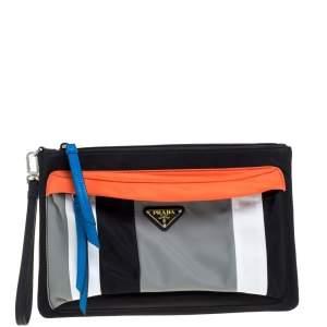Prada Multicolor Nylon and Leather Wristlet Clutch