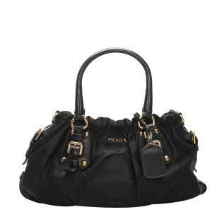 Prada Black Nylon/Leather Canapa Tessuto Satchel Bag