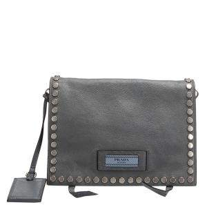 Prada Grey Leather Etiquette Crossbody Bag