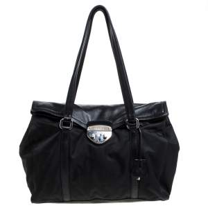 Prada Black Nylon and Leather Satchel