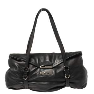 Prada Black Leather Pushlock Shoulder Bag