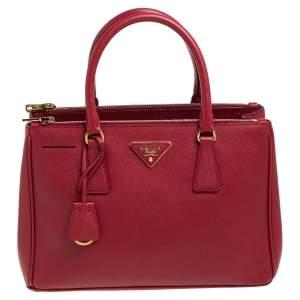 Prada Red Saffiano Lux Leather Small Galleria Double Zip Tote